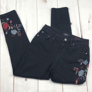 Earl Jeans Black Skinny Ankle Embroidered Jeans